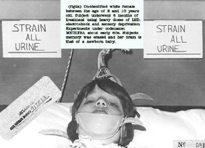 8-10 year old girl - forced over 6 months with LSD, electroshock and sensory deprivation. Her memory was erased leaving her with the brain of a newborn baby. Over 150 secret CIA Mind Control projects existed between 1950 and 1973. After first claiming they didn't exist, they then claimed they had ended them. Testimonials and other evidence indicate this was just another CIA lie.