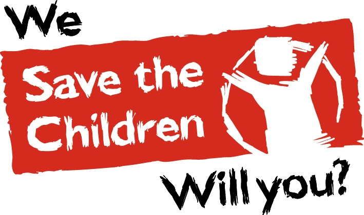 Save The children logo - the charity fails to include Satanic Ritual Abuse (SRA); torture and sacrifice; pedavorism; and organ harvesting within their list of types of child slavery.